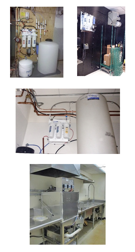 Coffee house reverse osmosis systems can be designed to fit in difficult spaces.
