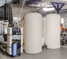 10,000 gpd reverse osmosis system providing water to equipment throughout the hospital